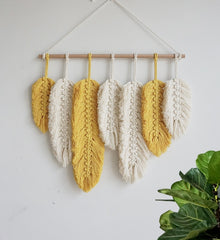 Hand Woven Feather Wall Hanging Tapestry Macrame