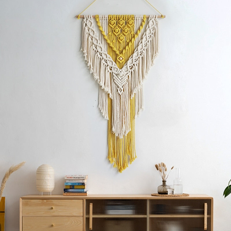 Rays Hand Woven Feather Wall Hanging Tapestry Macrame