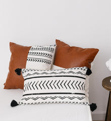 Faux Leather & Cotton Cushion Cover
