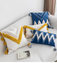 Handmade Cushion Cover Moroccan Style Abstract Zigzag Navy Blue Pillowcase Tassels Fringe Square Rectangle Pillow Cover 45x45cm/30x50cm Home Decoration Mustard