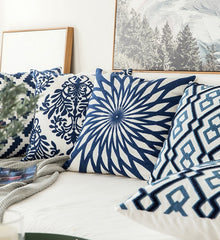 Blu Geo - Navy Blue/White Geometric Pillow Cover