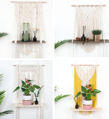 Macrame Hanging Planter Basket Plants Shelf Rack