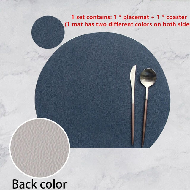 Dual Side Colors - Semicircle Heat Insulation Non-Slip Dining Table Mat Set Bicolor with Cup Coaster Set
