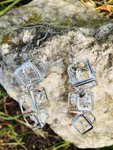 Load image into Gallery viewer, Sheridonna Designs: Glam Rock Star 3 Tier Silver Glass Earring