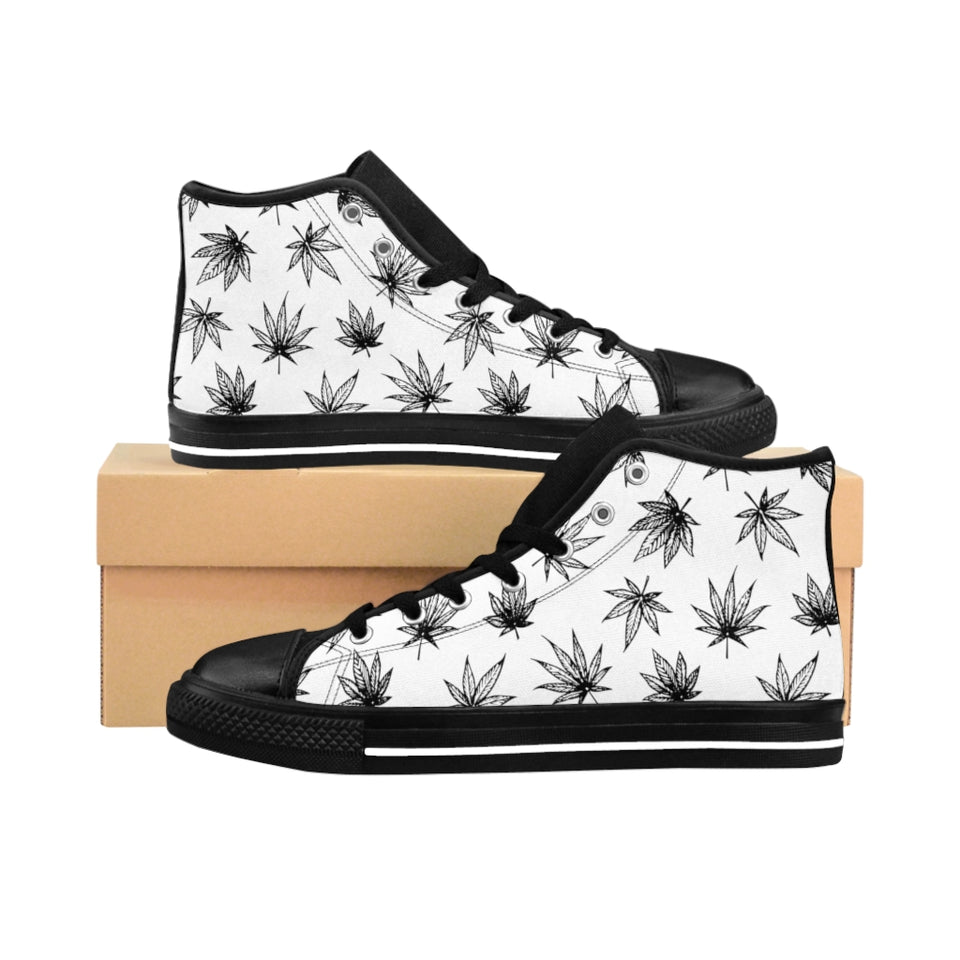 Raining Weed White High-tops