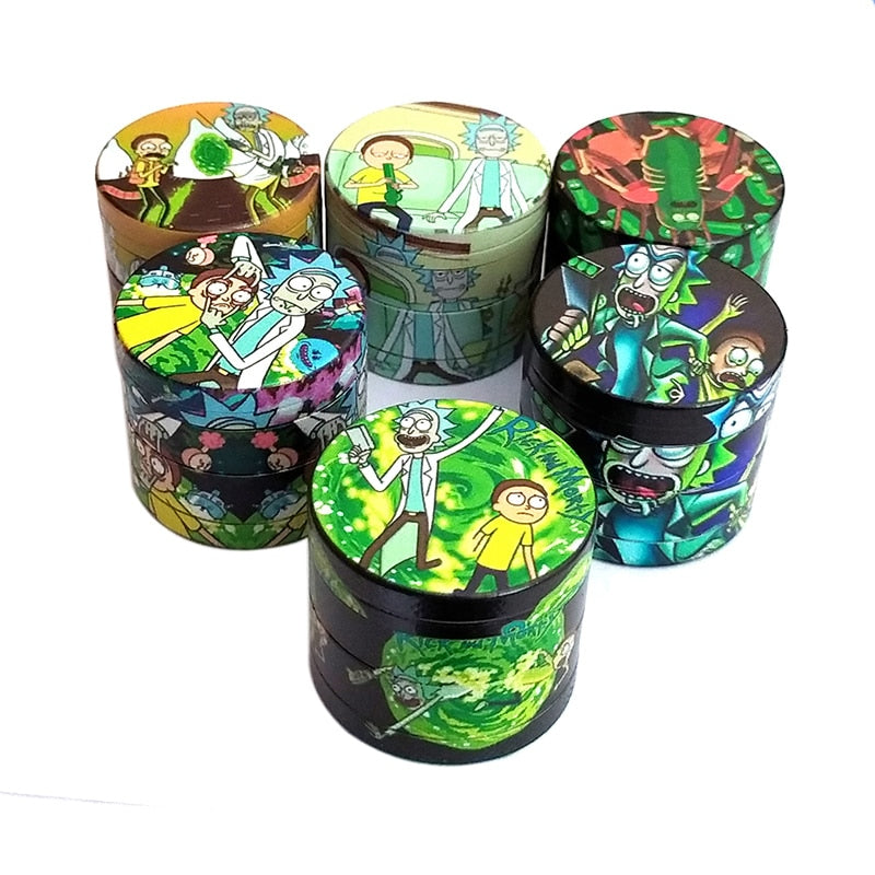 4 Layers Rick and Morty Metal Dry Herb Weed Grinder Smoke