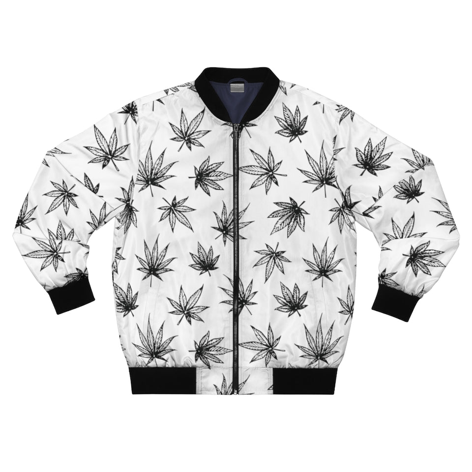 Raining Weed Men's White Bomber Jacket