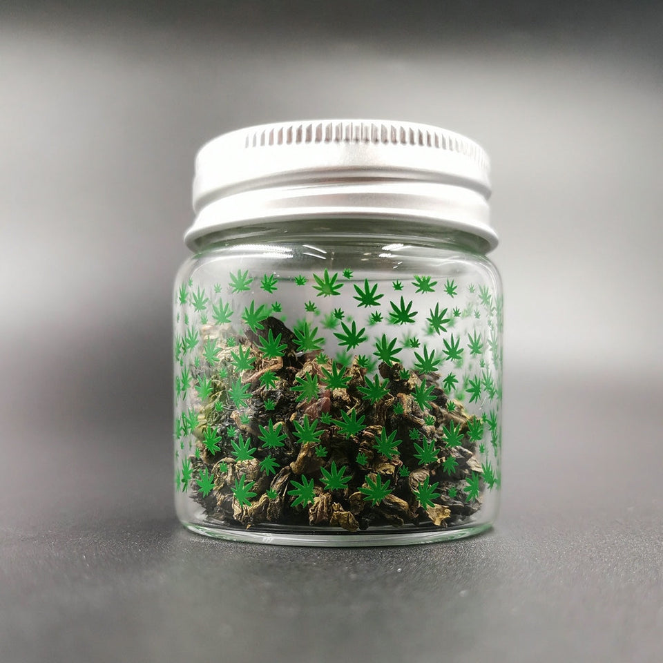 Weed Printed Glass Jar with Lid