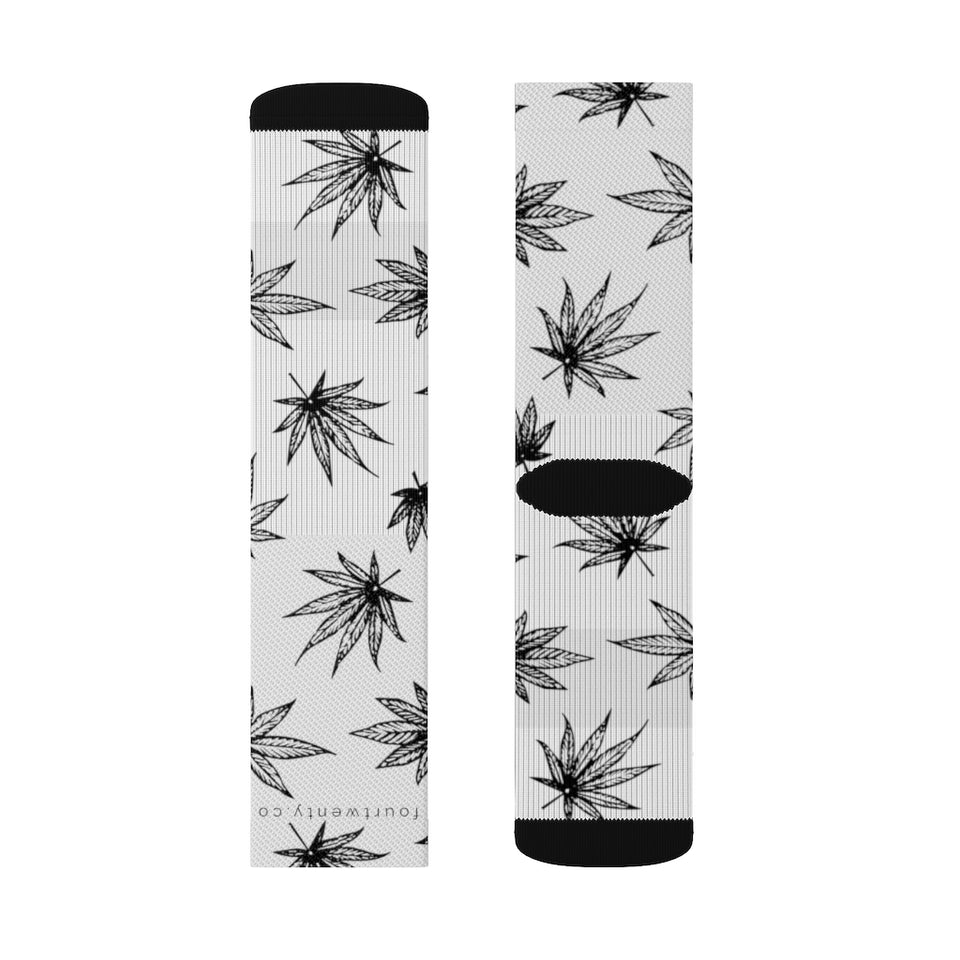 White Raining Weed Socks