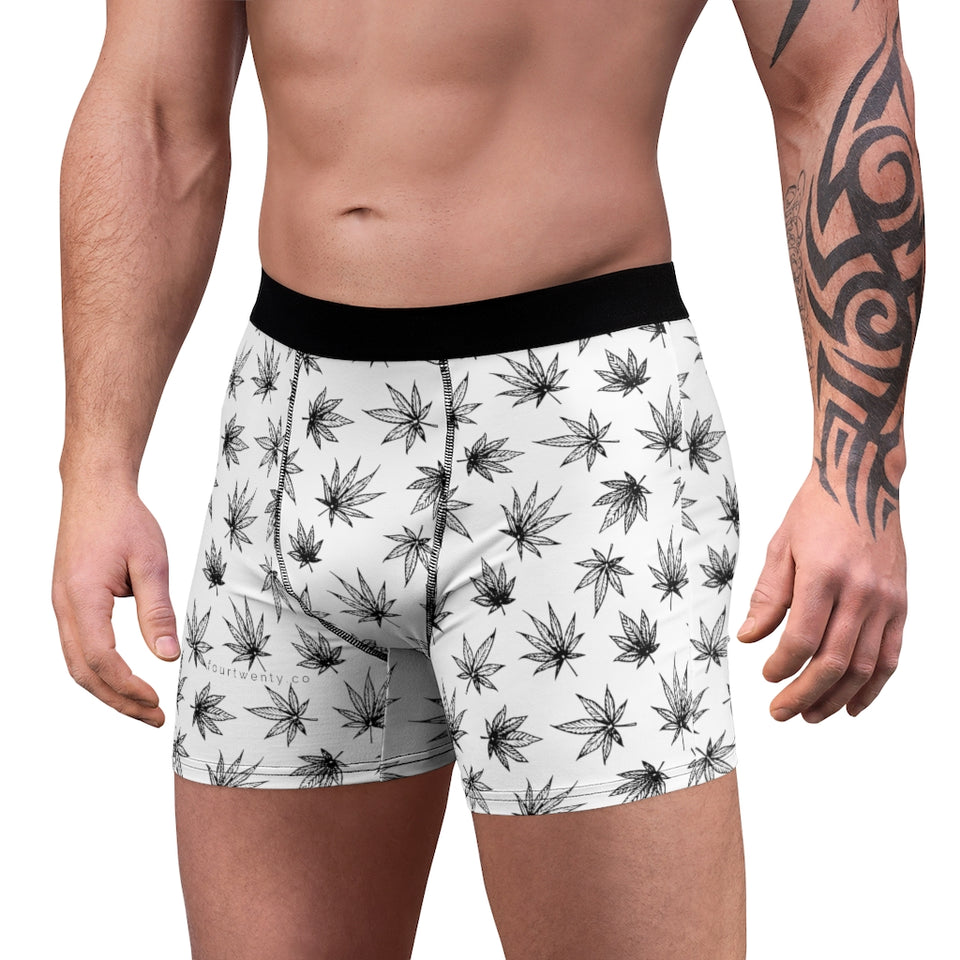 White Raining Weed Men's Boxer Briefs
