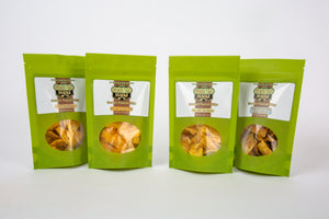 Rice Paper Stand-up pouches with see-through window displaying delicious plantain chips/strips