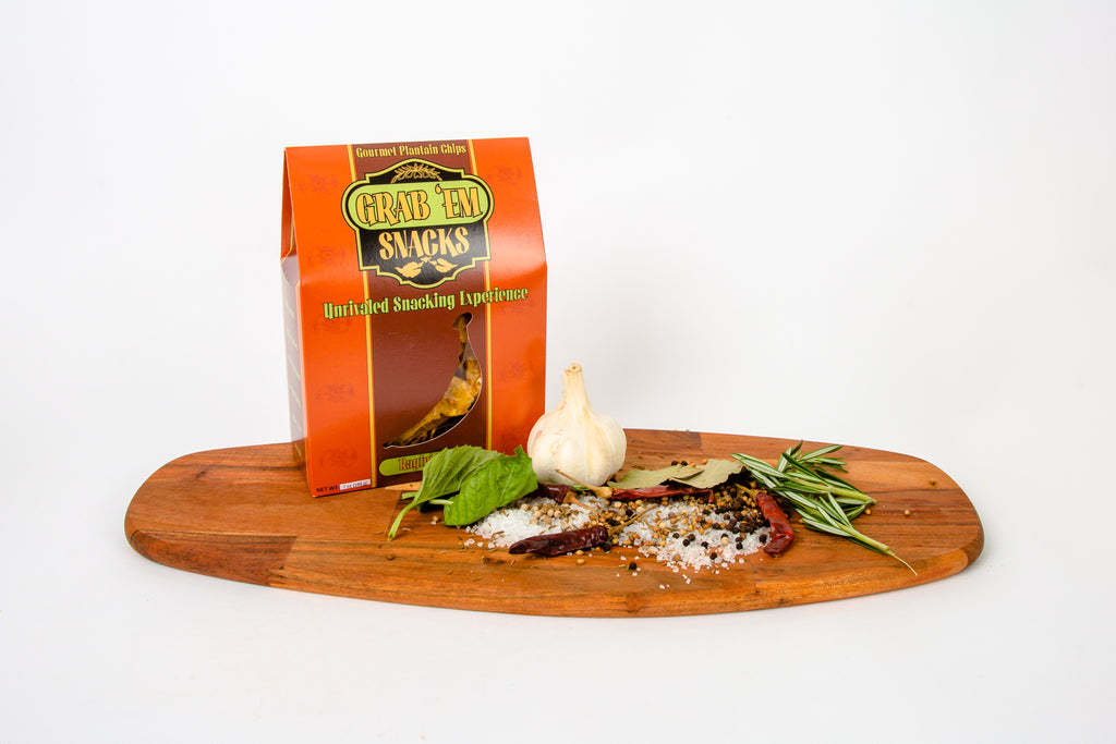 Gable-top box with a cut-out displaying delicious Cajun strips with organic herbs/spices, sea-salt