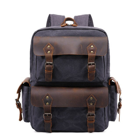 Ciryano Canvas Leather Backpack