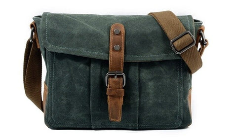 Aodhan Canvas Leather Messenger Bag