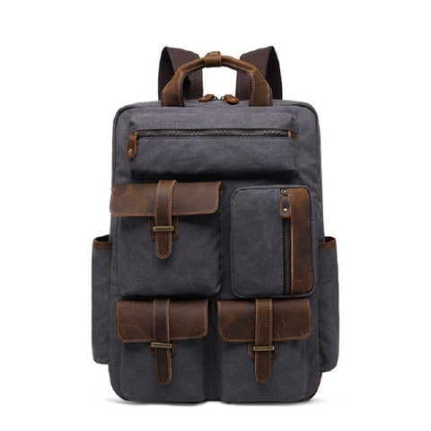 Elessesar Canvas Leather Backpack