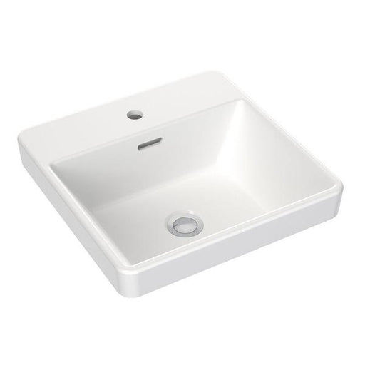 Clark Square Inset Basin With Tap Landing 400mm One Taphole with overflow - Bathroom Warehouse