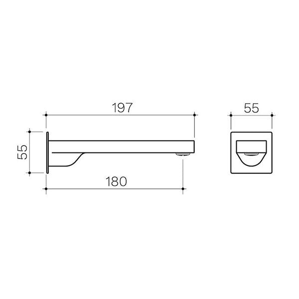 Clark Square Wall Basin/Bath Outlet 180mm - Matte Black - line drawing - Bathroom Warehouse