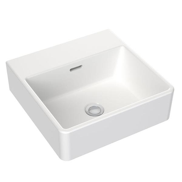 Clark Square Wall Basin 400mm No Tapholes with overflow - Bathroom Warehouse