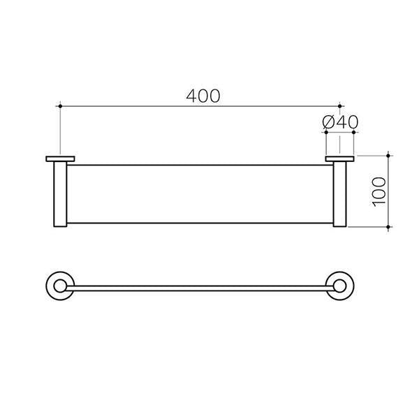 Clark Round Metal Shelf Technical Drawing - Bathroom Warehouse