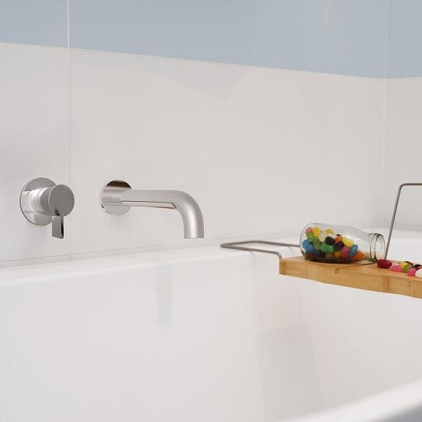 Clark Round Blade Wall Mixer Chrome, paired with Clark Round Wall Bath Spout at Bathroom Warehouse