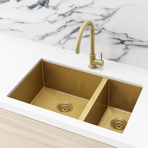 Meir Double Bowl PVD Kitchen Sink 670mm - Brushed Bronze Gold  | Bathroom Warehouse