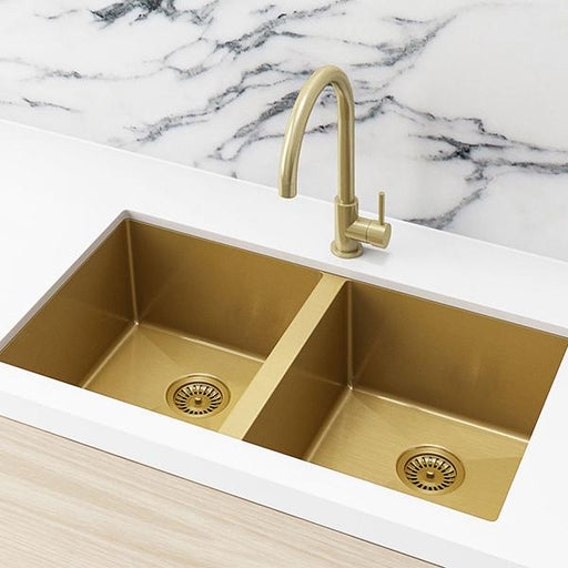 Meir Double Bowl PVD Kitchen Sink 760mm - Brushed Bronze Gold  | Bathroom Warehouse