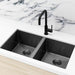 Meir Single Bowl PVD Kitchen Sink 760mm - Brushed Gun Metal Featured on a White Kitchen Benchtop and Marble Splashback with a Squared Off Sink Mixer