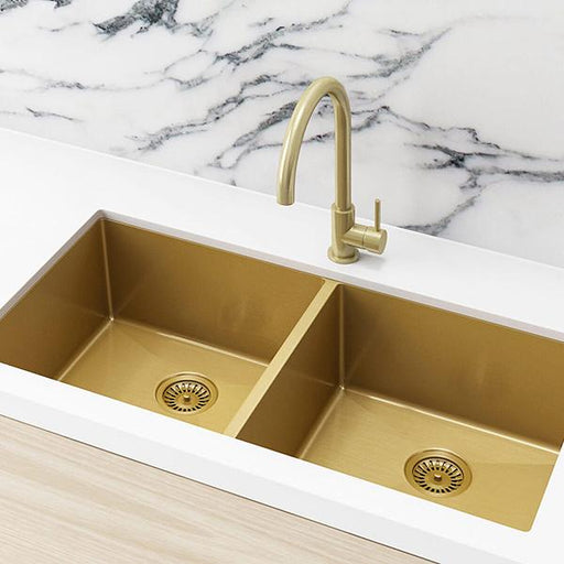 Meir Double Bowl PVD Kitchen Sink 860mm - Brushed Bronze Gold | Bathroom Warehouse