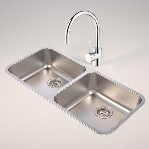 PACKAGE DEAL! Caroma Luna Stainless Steel Double Bowl Sink + Mixer at Bathroom Warehouse