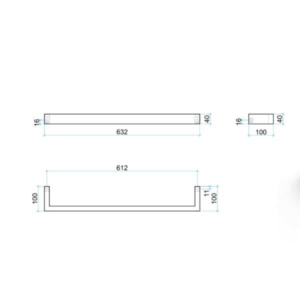 Thermogroup 12V Square Single Bar Heated Towel Rail 632mm Technical Drawing - Bathroom Warehouse