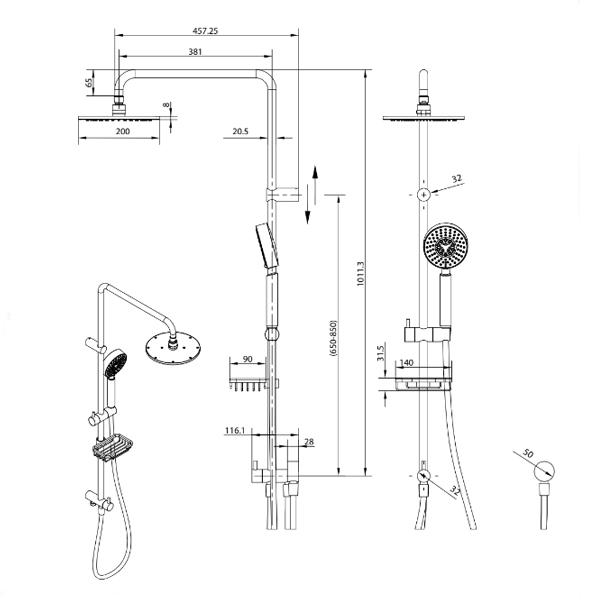 Technical Drawing - Fienza Michelle Multifunction Rail Shower