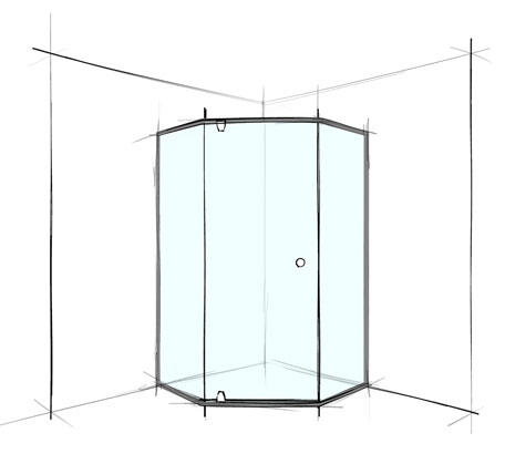 Cust Splay Door Screen Semi-Frameless up to 500/700/500 - Bathroom Warehouse