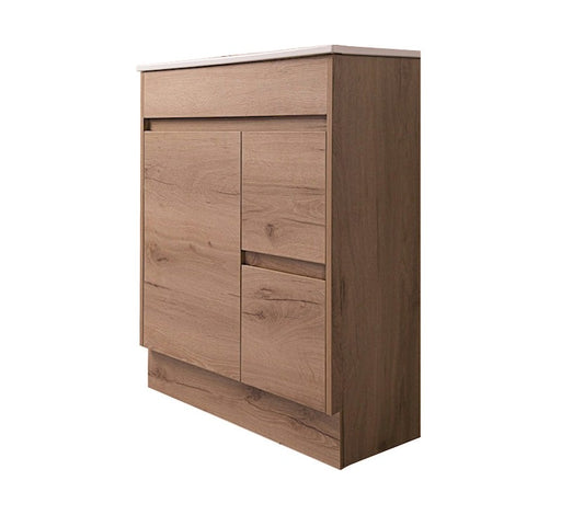 Ammos 750mm Ensuite Vanity - Ceramic Top FS Wood Grain - Bathroom Warehouse