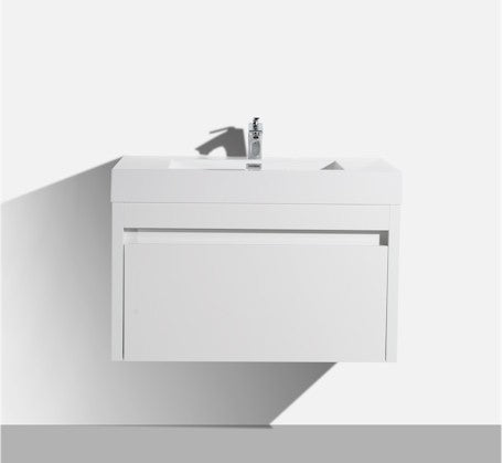 Alexandra 760mm Wall Hung Vanity Gloss White - Bathroom Warehouse