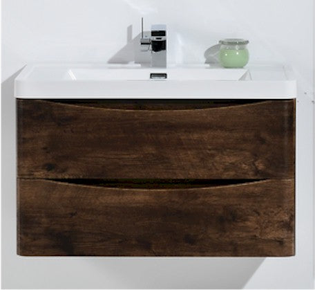 Ancona 600mm Wall Hung Vanity Rosewood Wood Grain - Bathroom Warehouse