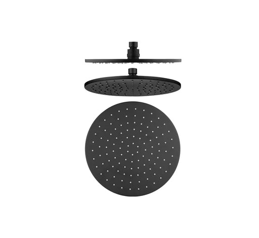 Shower Head Brass 250mm - Matte Black - Bathroom Warehouse