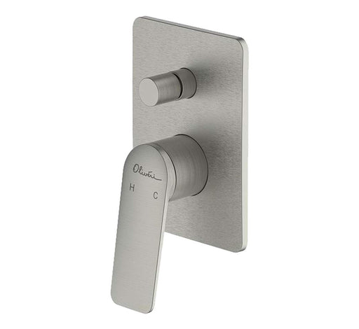 Paris Wall Mixer With Diverter Brushed Nickel - Bathroom Warehouse