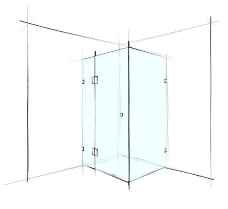 Custom Square Corner Shower Screen Frameless - Bathroom Warehouse