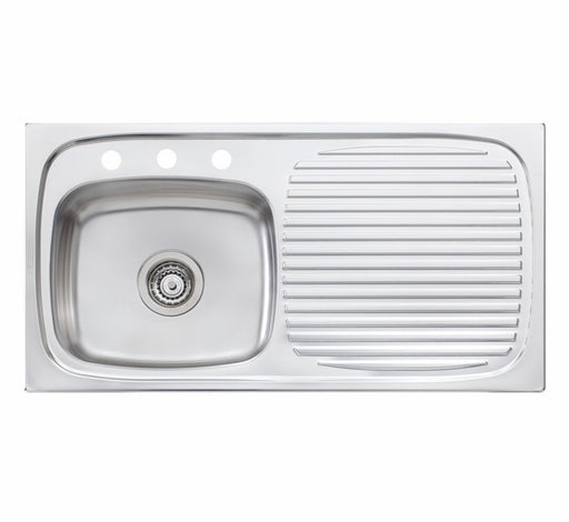 Oliveri Ultraform single bowl topmount sink R/H drainer 3TH - Bathroom Warehouse