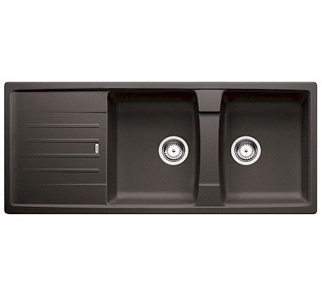 Lexa Double Bowl Reversible Sink with Drainer - Anthracite - Bathroom Warehouse