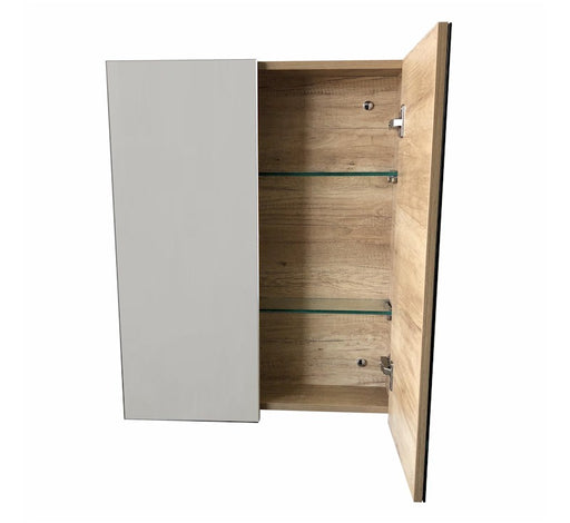Momento 750 Mirror Door Shaving Cabinet - Oak - Bathroom Warehouse