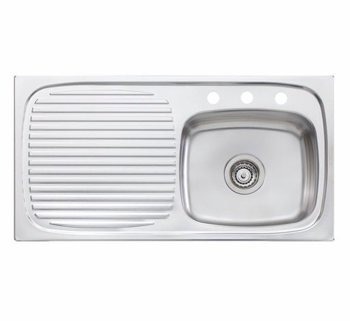 Oliveri Ultraform single bowl topmount sink L/H drainer 3TH - Bathroom Warehouse