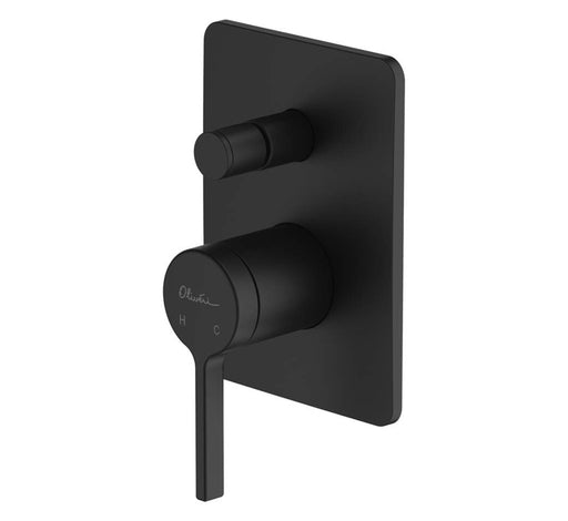 Stockholm Wall Mixer With Diverter Matte Black - Bathroom Warehouse