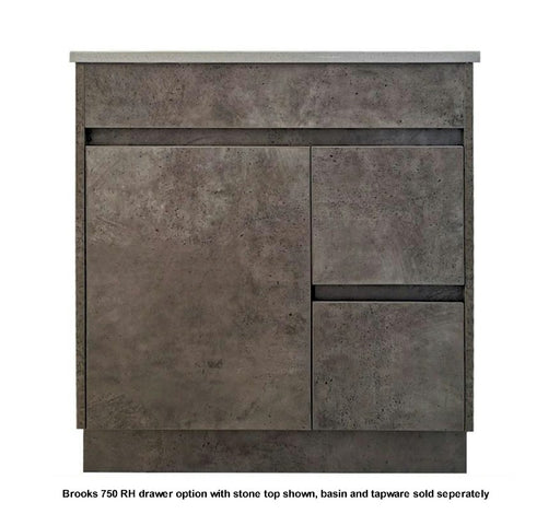 Brooks 750mm RHD Vanity FS Grey - Bathroom Warehouse