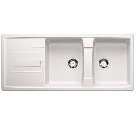 Lexa Double Bowl Reversible Sink with Drainer - White - Bathroom Warehouse