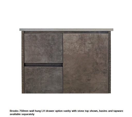 Brooks Wall Hung 750mm LHD Vanity Grey - Bathroom Warehouse