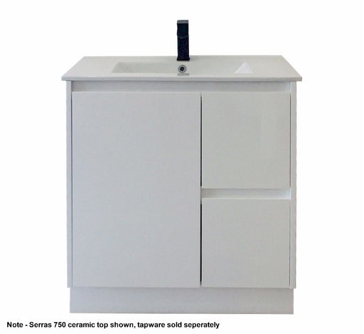 Serras 750mm Vanity FS White - Bathroom Warehouse