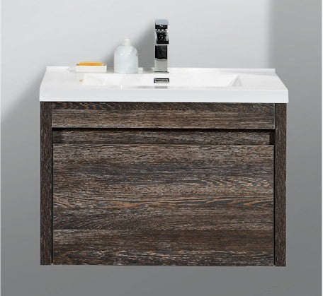 Alexandra 760mm Wall Hung Vanity Silver Oak Wood Grain - Bathroom Warehouse