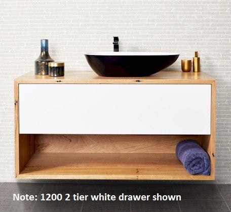 Momento Eureka 750mm Vanity 2 Tier WH Solid Timber  - Bathroom Warehouse