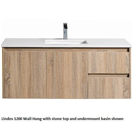 Lindos Wall Hung 750mm Vanity Wood Grain - Bathroom Warehouse